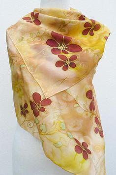Beige silk scarf hand painted Floral natural silk scarf bright