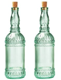 Set of 2, Country Home, 'Assisi Bottle', Glass Bottles by Bormioli Rocco. Superior quality Italian tableware (6.3349).