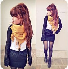 Cool yellow scarf with black & white.