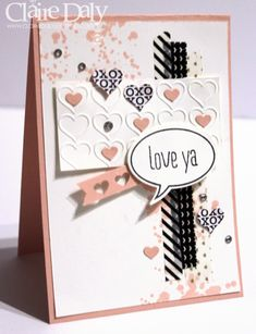 Stampin Up Valentines Card featuring Stacked with Love DSP and Washi tape, Happy Hearts Embossing Folder, Heart Border Punch, Just Sayin' stamp set and matching Word Bubble framelits. By Claire Daly, Stampin Up Demonstrator Melbourne Australia for SB87.