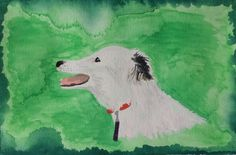 dog called Pippa painting from a handmade art calendar by Heidi Piercy