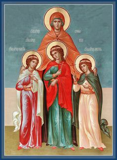 St Sophia, with Her Daughters Faith, Hope and Love – Damascene Gallery Byzantine Icons, Byzantine Art, Bible Timeline, Divine Goddess, All Saints Day, Catholic Art, Religious Icons, Faith Hope Love, God Loves Me