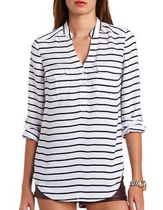 Striped Chiffon Button-Up Tunic Top: Charlotte Russe, pair it with the red jeans; cute!