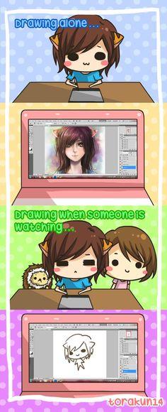 Torakun Comics :: Drawing when someone is watching | Tapastic Comics - image 1