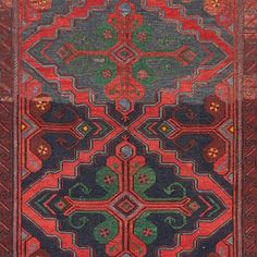 Antique Armenian Wool Soumak - 5 x9 6  Handwoven from wool, this antique Armenian soumak features the distinctive geometry traditional to Caucasian weaving.