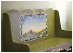 French Country Decorating Ideas: French Country Cottage Furniture. Hand painted furniture is gorgeous and unique and is what French Country decorating is all about. This little bench is painted green, distressed with antiquing glaze, and painted with a countryside scene. French Home Decor has an elegance all its own. c.  http://www.decorating-ideas-made-easy.com/french-country-decorating.html