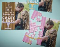 Wedding cake word art, wedding save the date, custom 9 piece wedding favor puzzle card   by ZaZaZooCards for $100.00