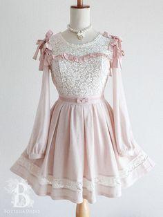 🌹LIZ LISA🌹Open-Shoulder Ribbon Dress Frill Pink LARME Lolita Hime Japan-M D645 #LIZ_LISA #bottega_dado