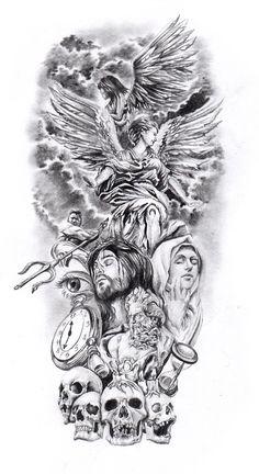 60 fotos de tatuajes de antebrazo de hombres: fotos y tatuajes - Tattoo ideen - Forearm Sleeve Tattoos, Full Sleeve Tattoos, Body Art Tattoos, Religious Tattoo Sleeves, Religious Tattoos, Angel Tattoo Designs, Tattoo Sleeve Designs, Art Chicano, Tattoos Realistic