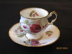 Vtg Elizabethan China Footed Tea Cup And Saucer, Pink/ Red/White Roses,Gold Trim
