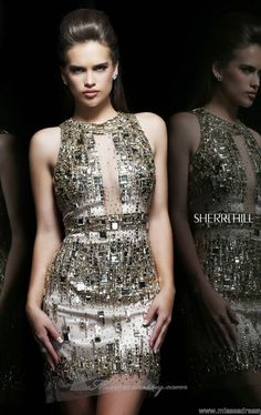 Silver Embellished Sequin Dress Sherri Hill 9703 by Sherri Hill
