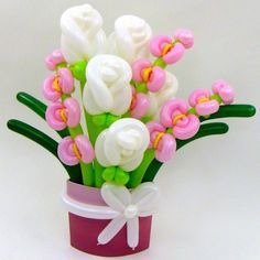 White Rose & Pink Orchid Flower Balloon Bouquet | BALLOON ANIMALS PALM BEACH