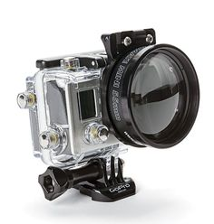BACKSCATTER MACROMATE MINI FOR GOPRO Now you can get really close to the action with Backscatter's new macro lens for GoPro cameras. Made with an aluminum frame and precision optical glass, the Macromate Mini threads onto Backscatter's FLIP adapt Gopro Camera, Camera Case, Camera Gear, Leica Camera, Nikon Dslr, Camera Phone, Film Camera, Underwater Photographer, Snorkeling