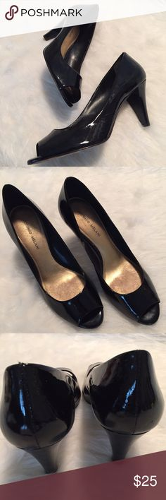 Antonio Melani Peep Toe Pumps So pretty and perfect dressed up or down! Stunning black patent peep toe pump with 3.5 inch heel. Pre worn in very good condition. No Trades. TB1196. ANTONIO MELANI Shoes