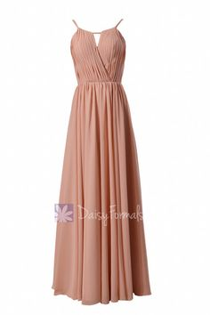 Gracious Peach Chiffon Evening Dress Long Scoop Neckline Bridesmaid Dress (BM10826L)