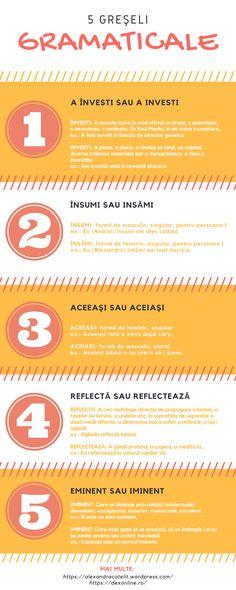Infographic: 5 greşeli gramaticale frecvente în limba română #gramatica