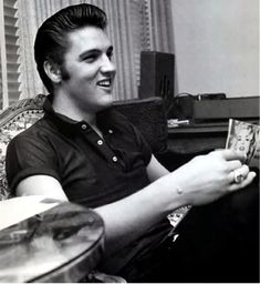 August 18, 1956 - Elvis at the Knickerbocker Hotel in Hollywood, on Saturday, by photographer Ed Braslaff.