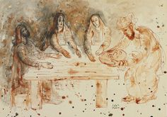 Reuven Rubin, The Three Visitors to Abraham - Abraham and the Angels