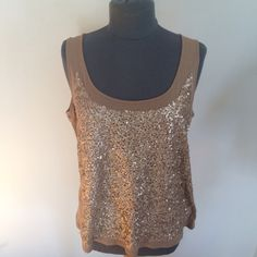 """Gold sequined tank Tan tank with sequins on the front and plain on the back. Bust approx. 20.5"""", length approx. 26"""". Shell 60% cotton 40% modal, trim 100% polyester. Talbots Tops Tank Tops"""