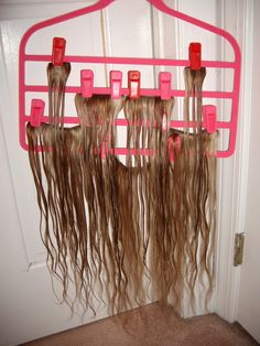 Shannon makes stuff diy clip on hair extension holder im so convenient drip dry and safe storage for clip in extensions using joy mangano pmusecretfo Image collections
