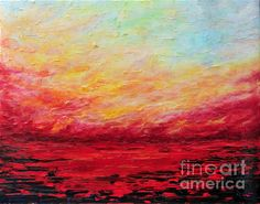 SUNSET FIERY   acrylic painting by TERESA WEGRZYN