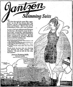 Oregon's Jantzen Knitting Mills (and the fashion of the time in general) were largely responsible for the disappearance of the over-skirt from women's swimming suits in the early 1920s. For most of the 20s men's and women's suits looked pretty much the same.    This Jantzen's ad is from an edition of the Oakland (CA) Tribune dated July 14, 1921.