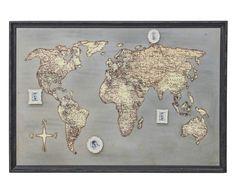 Placa Decorativa Mapa - 110X77cm
