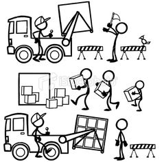 Stickfigure Lifting and Storage Royalty Free Stock Vector Art Illustration