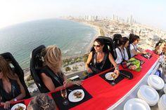 #dinner in the #sky. Private meal or drink 200ft above ground in #Tel-Aviv or #Jerusalem