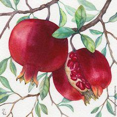 Pomegranates. Traditional art ( watercolor). Prof. paper: Canson Fontenay 300 g/м2 (cotton). Svetlana Markina (LechuzaS) Size:12cm*12cm