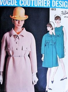MOD 60s FABIANI Dress and Coat Pattern Vogue Couturier Design