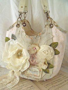 Romantic tote bag carry all shabby chic handbag Reserved listing. €82,00, via Etsy.