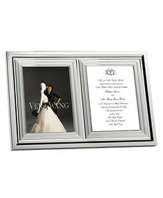 Frame to hold a wedding picture and a copy of the invitation.