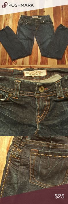 "1921 Dark Distressed Womens Jeans Great feel and fit. Unique distressed look, thick threaded detail. Unique. 98% cotton and 2% spandex. Measurements are: Waist laying flat: 16 Hips: 18"" Inseam: 31"" Leg opening: 8"" 1921 Jeans Straight Leg"
