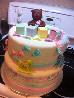 Pink and blue Babyshower cake