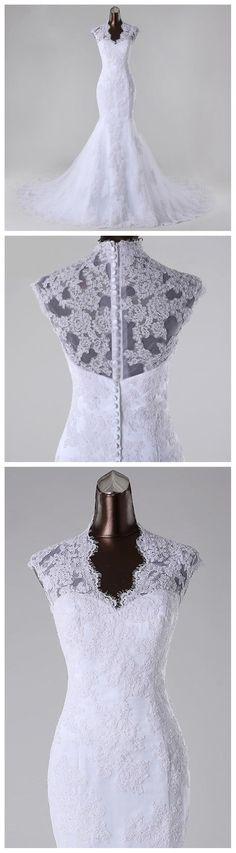 High Neckline See Through Lace Mermaid Wedding Bridal Dresses, Custom Made Wedding Dresses, Affordable Wedding Bridal Gowns, WD251