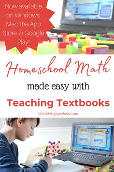 Homeschool Math made Easy with Teaching Textbooks ~ Nourishing My Scholar Teaching Textbooks, Teaching Math, Child Teaching, Homeschool Curriculum Reviews, Homeschool Books, Math Made Easy, Math Manipulatives, Math For Kids, Math Resources