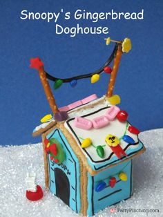 Snoopy's Gingerbread Doghouse, Peanuts, Charlie Brown Christmas party, Charlie Brown Christmas ideas, gingerbread ideas