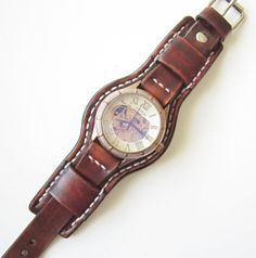 Vintage Mens Leather Watch Antique Brown by loversbracelets