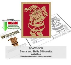 A Santa Claus silhouette, captured here chiming the bell. A call to the reindeer to get ready! This scroll saw silhouette pattern is a good woodworking plan for beginners to practice cutting tight spo...