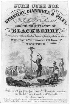 Wells, Miller, and Provost's Compound Extract of Blackberry quack medicine label with snake.