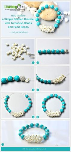 Simple Turquoise and Pearl Bead Bracelet A basic type bracelet made with turquoise beads, pearl beads, and rhinestone spacers, you can make one within few minutes. #pandahall #howto #freetutorial #turquoise #beadedbracelet #tuquoisebracelet #easyjewelry