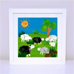 Art prints for kids - nursery and bedroom decor - Farm prints - Grazing Sheep. Available in 30x30cm and 12x12cm prints on high quality satin paper.