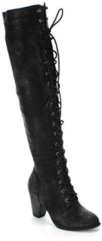 9a82fe2e7bf Forever Women s Chunky Heel Lace up Over-The-Knee High Riding Boots