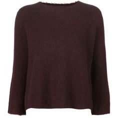 3.1 Phillip Lim Cropped Boxy Sweater ($395) ❤ liked on Polyvore featuring tops, sweaters, red, boxy sweater, red cropped sweater, 3/4 length sleeve tops, three quarter sleeve tops and 3/4 sleeve sweaters