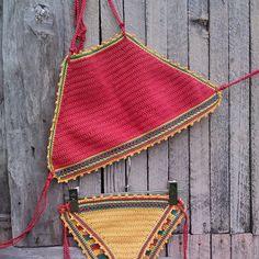 crochet bikini Red Jamaica  - Crochet Vintage bikini, Crochet Boho bikini, Hippie bikini, Triangle bikini, Halter top crochet