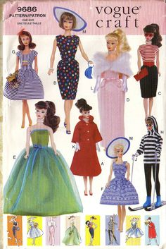 Retro BARBIE DOLL CLOTHES by Vogue Craft  9686   by BunnysLuck, $7.00