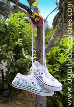 Zapatillas pintadas a mano, Lagartija de Colores.