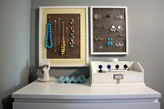 Hanging necklace and earring storage! I LOVE that ceramic egg container too