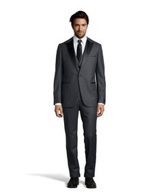 Z Zegna : grey wool single-button 3-piece tuxedo with flat front pants : style # 347890201